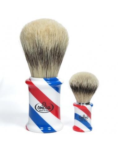 Omega pennello da barba gigante barber pole 1003 in pura setola effetto tasso